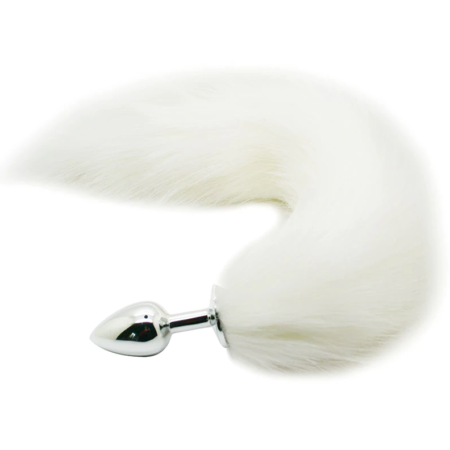 Faux Fox Tail with Stainless Steel Anal Plug - White | Sexpressions