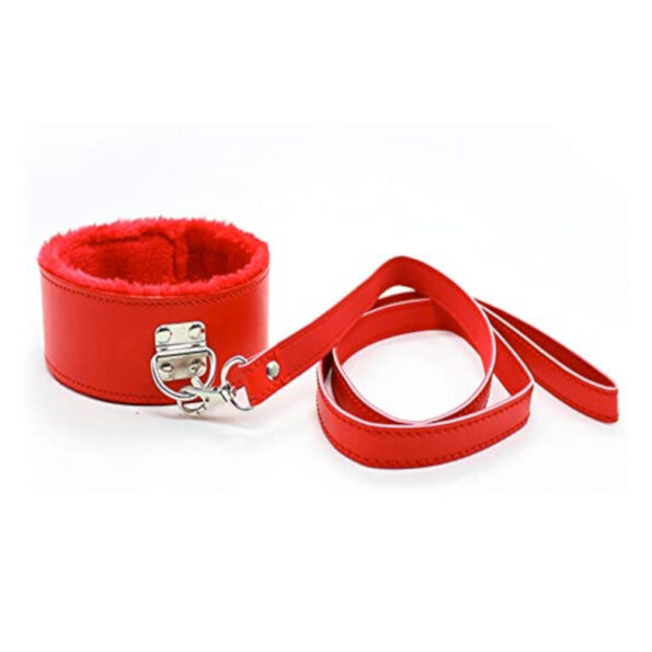Faux Leather and Fur Collar and Pulling Belt - Red