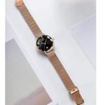 Womens Ultra Thin Waterproof Quartz Wrist Watch Rose Gold/Black