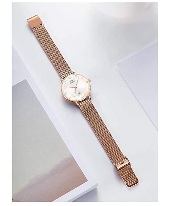 Womens Ultra Thin Wrist Watch Rose Gold/White Dial