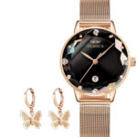 Gold Plated Butterfly Drop Earrings and Watch Set