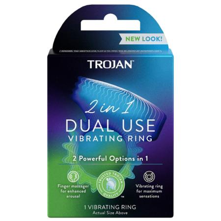 Trojan Vibrations 2-in-1 Vibrating Ring Plus Finger Massager
